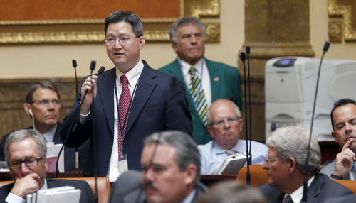 Al Hartmann  |  The Salt Lake Tribune Rep. Dean Sanpei, R-Provo, speaks before the Utah House on Wednesday, July 3, to introduce HR 9001, would create a special committe to explore allegations of misconduct against Attorney General John Swallow.