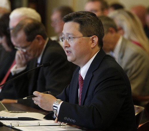 Al Hartmann  |  The Salt Lake Tribune Rep. Dean Sanpei, R-Provo, speaks before House Rules Committee on Wednesday, July 3, to introduce HR 9001, which would create a special committe to explore allegations of misconduct aganist Attorney General John Swallow.