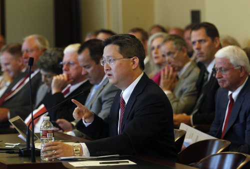Al Hartmann  |  The Salt Lake Tribune Rep. Dean Sanpei, R-Provo, speaks before House Rules Committee on Wednesday, July 3, to introduce HR 9001, whicih would create a special committe to explore allegations of misconduct against Attorney General John Swallow.