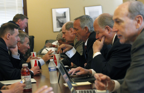 Al Hartmann  |  The Salt Lake Tribune House Republicans gather at caucus meeting Wednesday, July 3, to discuss HR 9001, which would create a special committe to explore allegations of misconduct against Attorney General John Swallow.