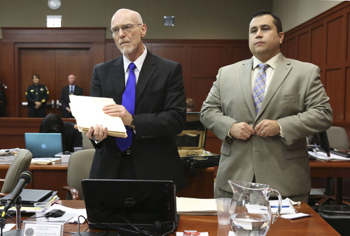 George Zimmerman, right, stands next to one of his defense attorneys, Don West, during his trial in Seminole circuit court, Friday, July 5, 2013, in Sanford, Fla. Zimmerman has been charged with second-degree murder for the 2012 shooting death of Trayvon Martin. (AP Photo/Orlando Sentinel, Gary W. Green, Pool)