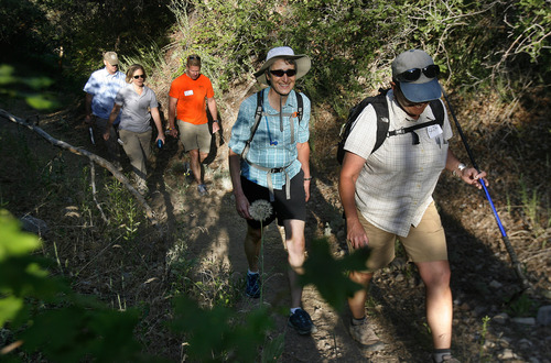 Scott Sommerdorf  |  The Salt Lake Tribune Secretary of Interior Sally Jewell hikes to Barney's Peak in the Oquirrhs with BLM employees in June.