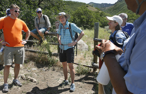 Scott Sommerdorf  |  The Salt Lake Tribune At the end of a June hike to Barney's Peak in the Oquirrhs, Secretary of Interior Sally Jewell speaks to her hiking partners about her respect for their work.