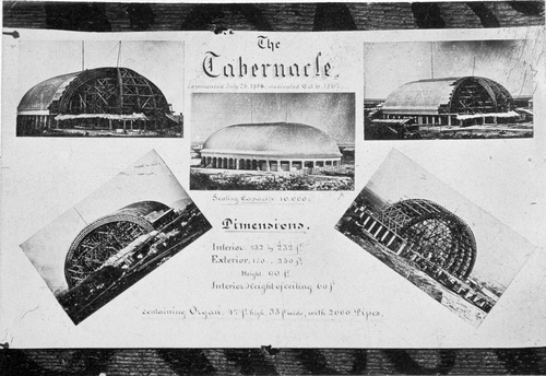 (Salt Lake Tribune archive) Construction of the Salt Lake Tabernacle between 1864 and 1867. The roof of the Tabernacle was constructed in an Ithiel Town lattice-truss arch system that is held together by dowels and wedges. The building has a sandstone foundation, and the dome is supported by 44 sandstone piers. The overall seating capacity of the building is 7,000, which includes the choir area and gallery (balcony).