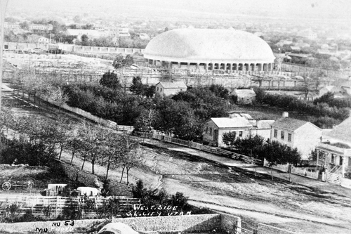 (Salt Lake Tribune archive) A rare photo of downtown Salt Lake City shortly after the Salt Lake Tabernacle construction was completed in 1867.