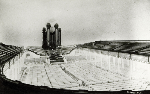 (Salt Lake Tribune archive)  The interior of the Salt Lake Tabernacle while under construction in 1865. It was completed in 1867.