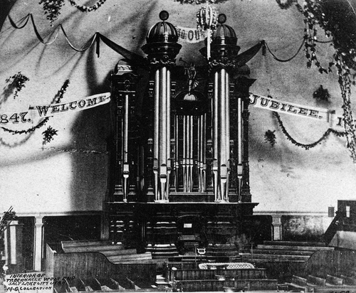 (Salt Lake Tribune archive)  Interior of the Salt Lake Tabernacle before the Jubilee celebration of 1897. Brigham Young wanted the Jubilee celebration, a year after Utah received statehood, to be the biggest since the World's Fair.