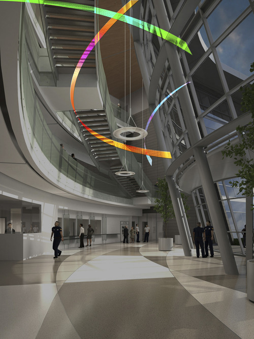 | Courtesy This rendering shows the piece by artist Alexander Tylevich of St. Paul, Minn.,  of three transparent rings that will hang in mid-air and refract light into different colors in the atrium of the new public safety building in Salt Lake City.