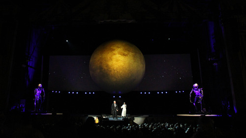 Rick Egan  | The Salt Lake Tribune   Glenn Beck performs his Man in the Moon stage spectacle at USANA, Saturday, July 6, 2013.