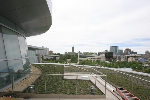 Rick Egan  | The Salt Lake Tribune   View from the third floor deck in the new Salt Lake Police and Public Safety building contains contains solar panels, Wednesday, June 12, 2013.