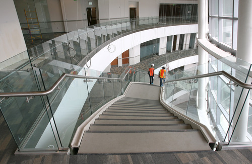 Rick Egan  | The Salt Lake Tribune   Staircase in the new Salt Lake Police and Public Safety building contains contains solar panels, Wednesday, June 12, 2013.