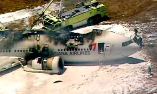 This frame grab from video provided by KTVU shows smoke rising from an Asiana Airlines flight that crashed while landing at San Francisco Airport on Saturday, July 6, 2013. It was not immediately known whether there were any injuries. (AP Photo/KTVU) MANDATORY CREDIT
