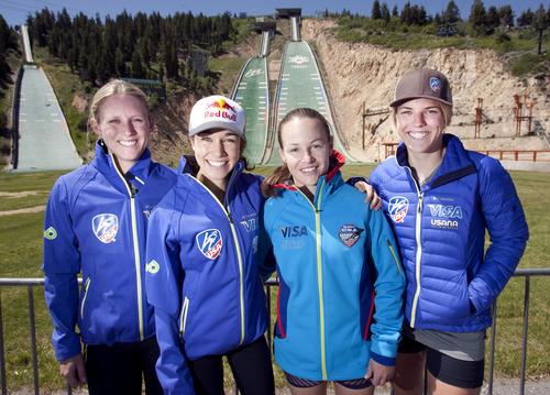 Steve Griffin   The Salt Lake Tribune  U.S. Women's Ski Jumping Team, members Alissa Johnson, Sarah Hendrickson, Lindsey Van and Abby Hughes at the Utah Olympic Park in Park City, Utah Thursday June 20, 2013.
