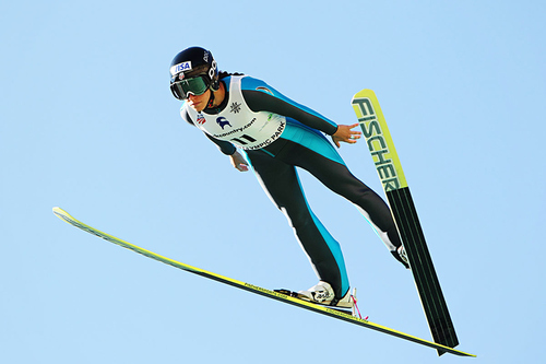 Courtesy of USA Women's Ski Jumping ,    US Women's Ski Jumping team member Jessica Jerome competes in the K120 event of the National Championships in 2012.