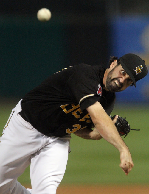 Rick Egan  | The Salt Lake Tribune    Matt Shoemaker pitches for the Bees in game action against the Las Vegas 51s, Monday, July 8, 2013.