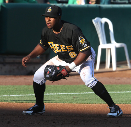 Rick Egan  | The Salt Lake Tribune   Chris Nelson (8) plays third base for the Bees, in Pacific Coast League action against the Las Vegas 51s, Monday, July 8, 2013.