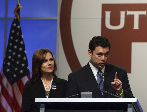 Leah Hogsten  |  The Salt Lake Tribune Rep. Jason Chaffetz is the nominee for the 3rd Congressional District. The Utah Republican Party held its nominating convention Saturday, April 21 2012 in Sandy at the South Towne Exposition Center.