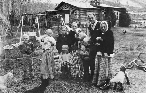 Tribune file photo  John Singer and his children outside the family's home in Marion, Utah.