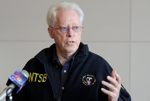 NTSB representative Earl Weener speaks to the media in Anchorage, Alaska on Monday, July 8, 2013, about the investigation into the fatal airplane crash in Soldotna Alaska that claimed 10 lives on Sunday July 7, 2013. (AP Photo/Anchorage Daily News, Bill Roth)