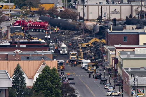 Investigators dig through the rubble for victims of Saturday's  fiery oil train derailment in Lac-Megantic, Que., Tuesday, July 9, 2013.  Thirteen dead have been found and about 40 people are still missing. (AP Photo/The Canadian Press, Jacques Boissinot)