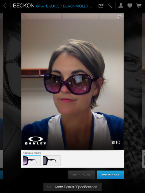 Screenshot from the iPad app, Glasses.com, which allows the user to scan his or her face into the program to try on virtual glasses to buy online. Courtesy image