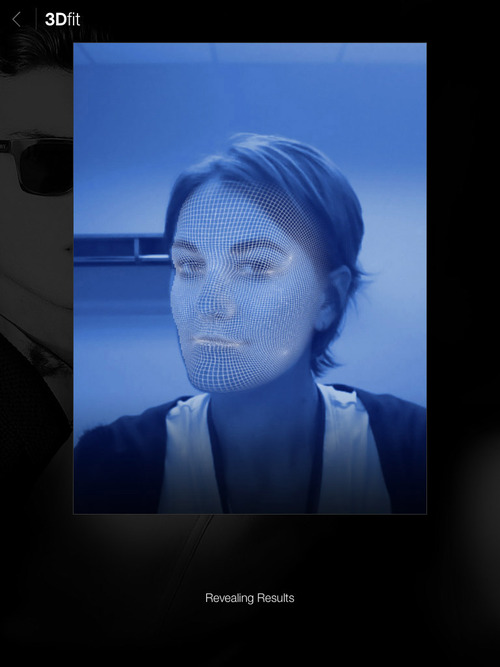 Screenshot from the iPad app, Glasses.com, which allows the user to scan his or her face into the program to try on virtual glasses to buy online. The app, as shown here, creates a wire mesh version of your head to help create a 3D representation of your image. Courtesy image