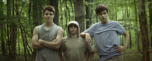 """Classmates Pat (Gabriel Basso, left), Biaggio (Moises Arias, center) and Joe (Nick Robinson) strike out on their own in the comedy """"The Kings of Summer,"""" which played under the title """"Toy's House"""" at the 2013 Sundance Film Festival."""