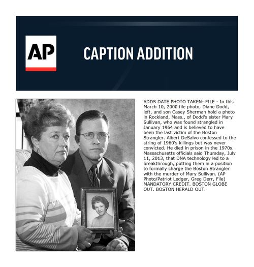 ADDS DATE PHOTO TAKEN- FILE - In this March 10, 2000 file photo, Diane Dodd, left, and son Casey Sherman hold a photo in Rockland, Mass., of Dodd's sister Mary Sullivan, who was found strangled in January 1964 and is believed to have been the last victim of the Boston Strangler. Albert DeSalvo confessed to the string of 1960's killings but was never convicted. He died in prison in the 1970s. Massachusetts officials said Thursday, July 11, 2013, that DNA technology led to a breakthrough, putting them in a position to formally charge the Boston Strangler with the murder of Mary Sullivan. (AP Photo/Patriot Ledger, Greg Derr, File) MANDATORY CREDIT. BOSTON GLOBE OUT. BOSTON HERALD OUT.