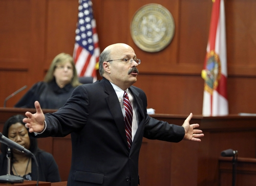 Assistant state attorney Bernie de la Rionda presents the state's closing arguments in George Zimmerman's trial in Seminole circuit court in Sanford, Fla. Thursday, July 11, 2013. Zimmerman has been charged with second-degree murder for the 2012 shooting death of Trayvon Martin. (AP Photo/Orlando Sentinel, Gary W. Green, Pool)