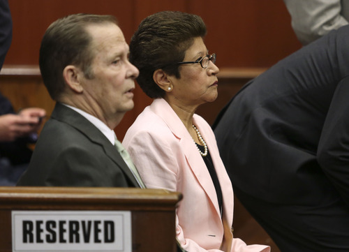 Gary W. Green  |  Orlando Sentinel via AP George Zimmerman's parents, Robert Zimmerman Sr., left, and Gladys Zimmerman sit in court for closing arguments in their son's trial in Seminole circuit court in Sanford, Fla. Thursday, July 11, 2013. Zimmerman has been charged with second-degree murder for the 2012 shooting death of Trayvon Martin.