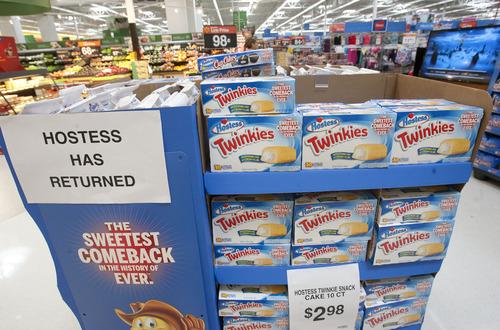 Steve Griffin | The Salt Lake Tribune   Hostess Twinkies were back in Walmart stores in Salt Lake City on Friday, July 12, 2013.