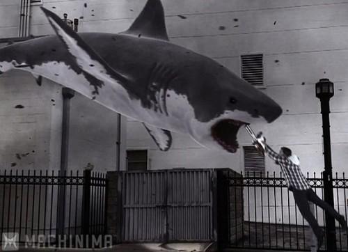 A screenshot from SyFy's 'Sharknado' original movie.