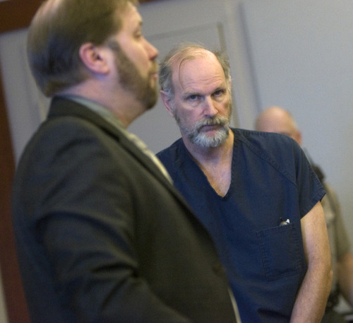 Sherman Lynch, right, stands with his defense attorney Robin Ljungberg, left, in Judge William Barret's courtroom for a preliminary hearing Friday.  He is charged with murder and obstucting justice for the hit-and-run of his wife, 64-year-old Patricia Rothermich.   Al Hartmann/Salt Lake Tribune   12/21/20007