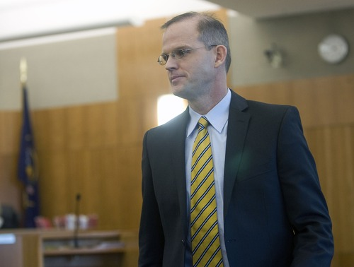 Al Hartmann  |  The Salt Lake Tribune file photo  Steven Turley, exiting Judge Christine Johnson's 4th District Court in American Fork in November,  faces another hearing on April 3.