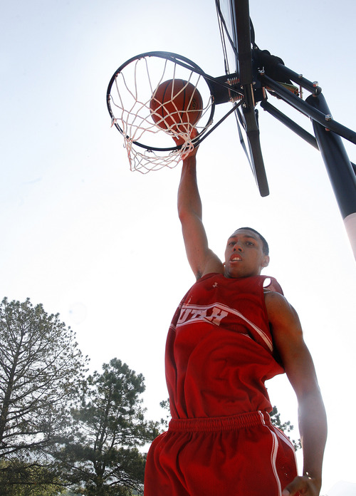 Scott Sommerdorf   |  The Salt Lake Tribune Jordan Loveridge will enter next season as Utah's centerpiece player. He's lost 25 pounds this offseason as he worked hard on transforming his body and his game, Wednesday, July 10, 2013.