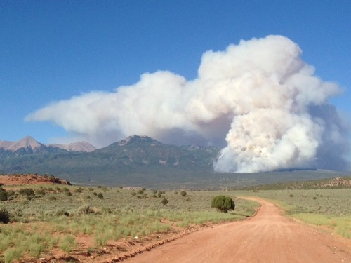 The Sinbad Fire, east of Moab, was Utah's largest on Friday. (Moab Interagency Fire Center photo)
