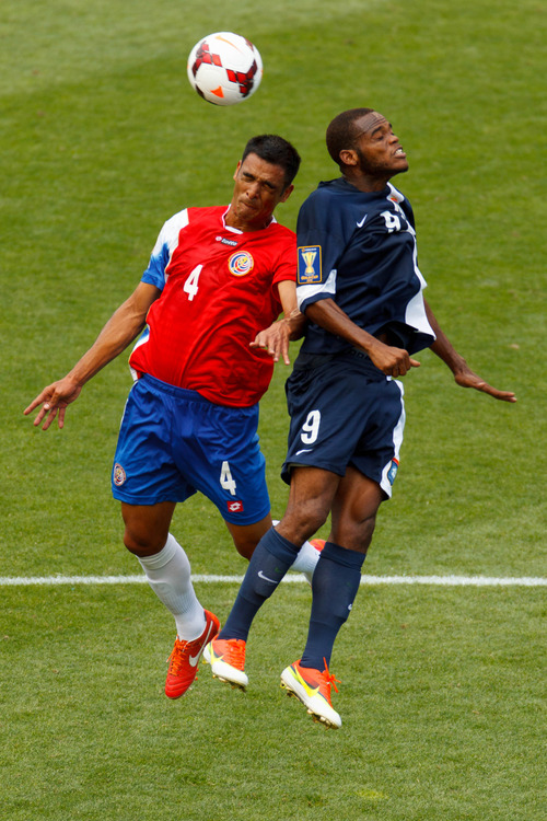 Trent Nelson     The Salt Lake Tribune Costa Rica's Michael Umana and Belize's Deon McCaulay head the ball as Costa Rica defeats Belize 1-0 in CONCACAF Gold Cup soccer at Rio Tinto Stadium in Sandy, Saturday July 13, 2013.
