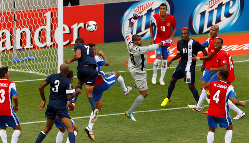 Trent Nelson     The Salt Lake Tribune Costa Rica goalkeeper Patrick Pemberton, center, defending the goal as the Costa Rica defeats Belize 1-0 in CONCACAF Gold Cup soccer at Rio Tinto Stadium in Sandy, Saturday July 13, 2013.