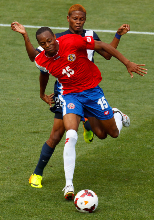 Trent Nelson     The Salt Lake Tribune Costa Rica's Junior Diaz and Belize's Devon Makin race for the ball as Costa Rica defeats Belize 1-0 in CONCACAF Gold Cup soccer at Rio Tinto Stadium in Sandy, Saturday July 13, 2013.