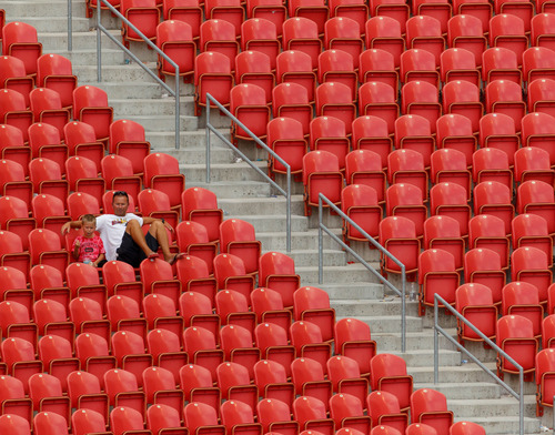 Trent Nelson     The Salt Lake Tribune Fans watch as the Costa Rica defeats Belize 1-0 in CONCACAF Gold Cup soccer at Rio Tinto Stadium in Sandy, Saturday July 13, 2013.