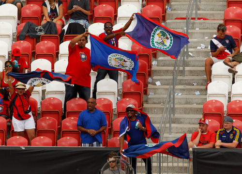 Trent Nelson     The Salt Lake Tribune Belize fans cheer on their team as Costa Rica defeats Belize 1-0 in CONCACAF Gold Cup soccer at Rio Tinto Stadium in Sandy, Saturday July 13, 2013.