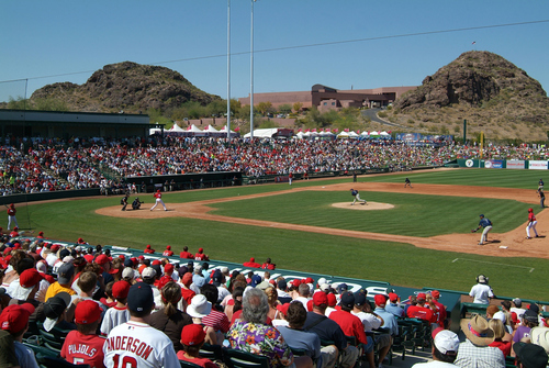 ccPhoto by Tim Trumble  An Angels spring training game at Tempe Diablo Stadium in Tempe, Arizona. Tempe is the home of the MLB Angles' instructional league.