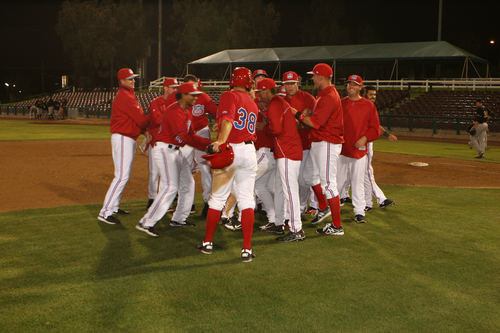 Photo courtesy of Inland Empire 66ers  Members of the Inland Empire 66ers, a minor league affiliate of the Los Angeles Angels.