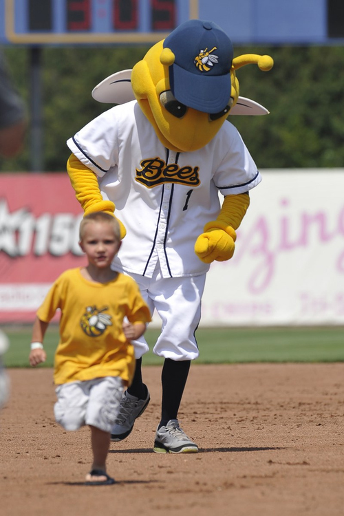 Photo courtesy Burlington Bees  Bees mascot races a young fan around the bases.