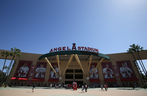 The entrance to Angel Stadium is seen before the baseball game between the Detroit Tigers and Los Angeles Angels on Saturday, April 20, 2013, in Anaheim, Calif. (AP Photo/Danny Moloshok)