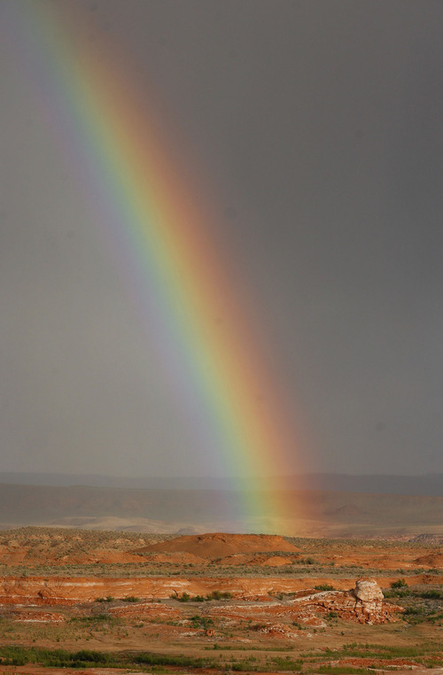 Rainbow forms in the desert near Bullfrog Marina in the Glen Canyon Recreation Area.   While northern Utah was fetting rain and snow even southeastern Utah got enough precipitation to create rainbows and entice the cactus flowers to bloom.    Al hartmann/Salt Lake Tribune  5/5/07