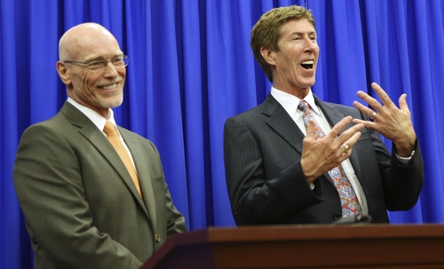 Defense attorneys Don West, left, and Mark O'Mara address the media following the not guilty verdict for their client George Zimmerman in Seminole Circuit Court in Sanford, Fla. on Saturday, July 13, 2013. Jurors found Zimmerman not guilty of second-degree murder in the fatal shooting of 17-year-old Trayvon Martin in Sanford, Fla. (AP Photo/Gary W. Green, Pool)