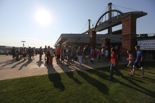 John Lovretta/The Hawk Eye A large crowd gathers for the Burlington Bees game against the Peoria Chiefs, Wednesday July 3, 2013 at Community Field. The crowd was larger than usual due to the fireworks display following the game.