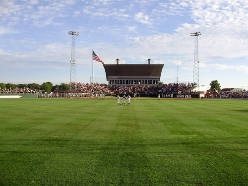 Photo courtesy of the Burlington Bees  Community Field in Burlington, Iowa, home of the Burlington Bees, a minor league affiliate of the Los Angeles Angels.