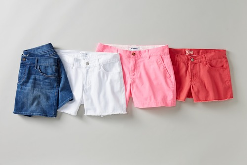 This product image released by Old Navy shows a variety of denim shorts. Many stores are recognizing that shoppers like to purchase their summer clothing when the weather is warm enough for them to wear it. That translates to a later, more gradual rollout of summer clothing as well as staggered and later-than-usual sales. (AP Photo/Old Navy)